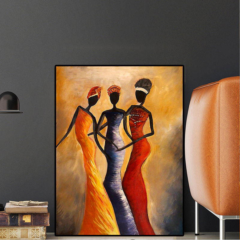 Vintage Three African Woman Portrait Oil Painting