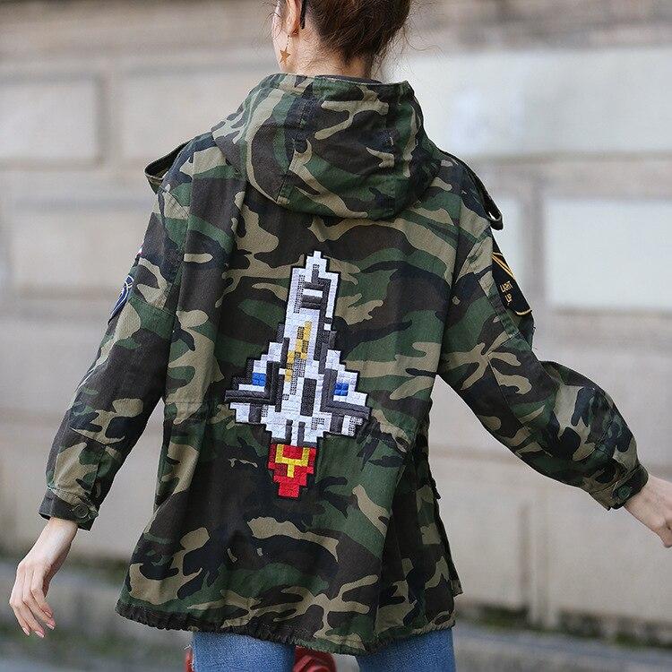À Camouflage Survêtement Casual Long Femmes Trench De Broderie Brise Moyen Tranchée Étanche 2018 Capuche Manteaux Automne Rue aOxXnAqq