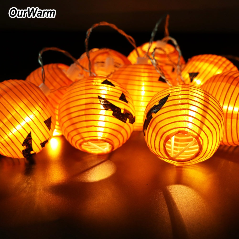 OurWarm 1.2M Halloween String Lights Pumpkin LED Light 10Heads Halloween Party Lights Warm White Halloween Home Decoration