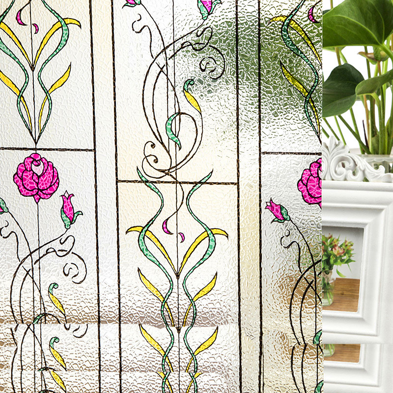 Energetic 30/45/40/50/60*100cm Opaque Color Rose Frosted Decorative Window Films Vinyl Static Cling Self Adhesive Privacy Glass Stickers Home Decor Decorative Films