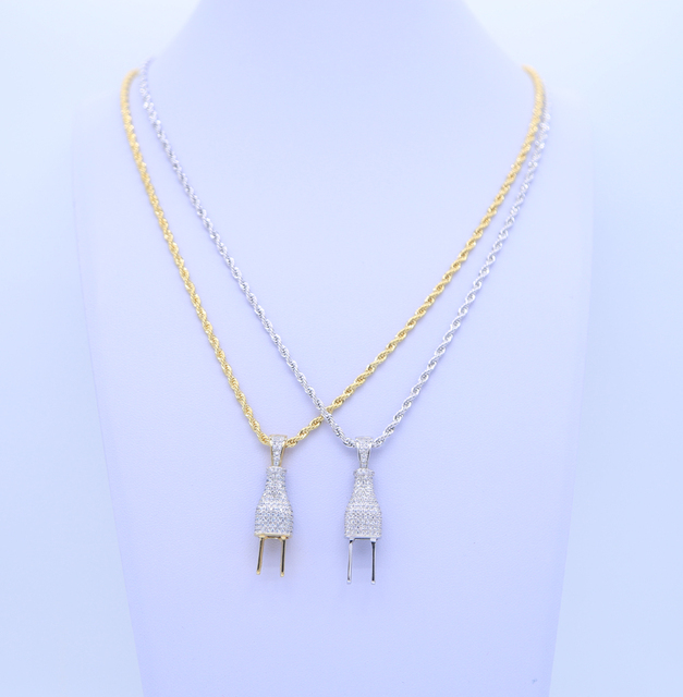 Gold silver color mix High quality micro pave AAA CUBIC ZIRCONIA hip hop bling punk mens jewelry iced out cool necklace