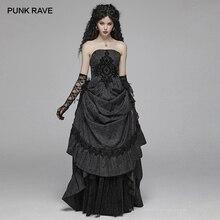 Панк рейв женское готическое винтажное жаккардовое длинное платье с вышивкой стимпанк вечерние шикарные элегантные женские платья в полоску