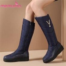 Женские зимние ботинки MEMUNIA, теплые ботинки до середины икры на меху с нескользящей резиновой подошвой на молнии, 2020