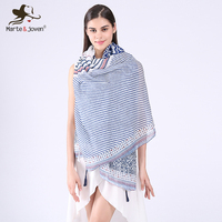 Stylish Geometric Print Bohemia Long Scarves All Match Vintage Patchwork Stripe Shawls Summer And Autumn Casual
