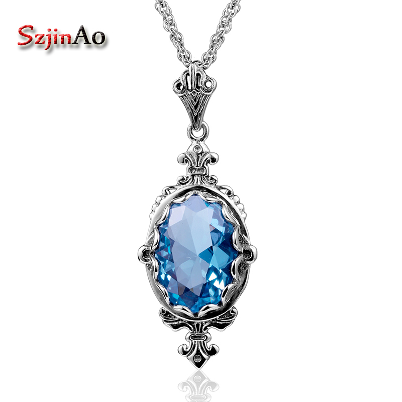 Szjinao Real Genuine 925 Sterling Silver Necklace Pendants For Women Blue Topaz  Jewelry Vintage Fashion Christmas GiftSzjinao Real Genuine 925 Sterling Silver Necklace Pendants For Women Blue Topaz  Jewelry Vintage Fashion Christmas Gift