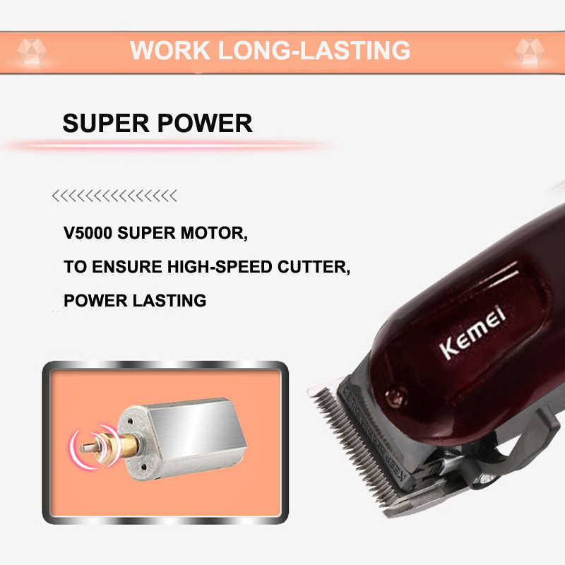 Профессиональная машинка для стрижки волос KeMei из углеродистой стали, перезаряжаемая машинка для стрижки волос, высококачественный триммер для бороды, KM-2600