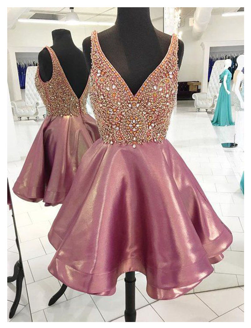 Sexy V Neck   Prom     Dresses   2019 LORIE Elegant nBackless Elegant Crystal Evening Party   Dress   Beaded Short Mini Evening   Dresses
