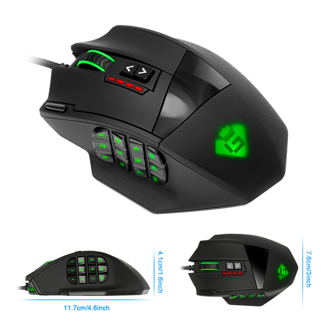 Rocketek USB Gaming Mouse 16400DPI 19 buttons ergonomic design 3