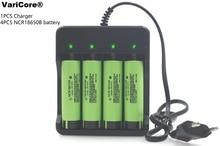 4pcs Brand new Original 18650 battery 3.7 V NCR18650B 3400 MAH Li-ion Rechargeable batteries + 1 X 18650 battery Charger