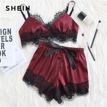 SHEIN Lace Trim Satin Bralette Shorts Pajama Set Burgundy Sleeveless Ribbon Sexy Nightwear 2018 Women Patchwork