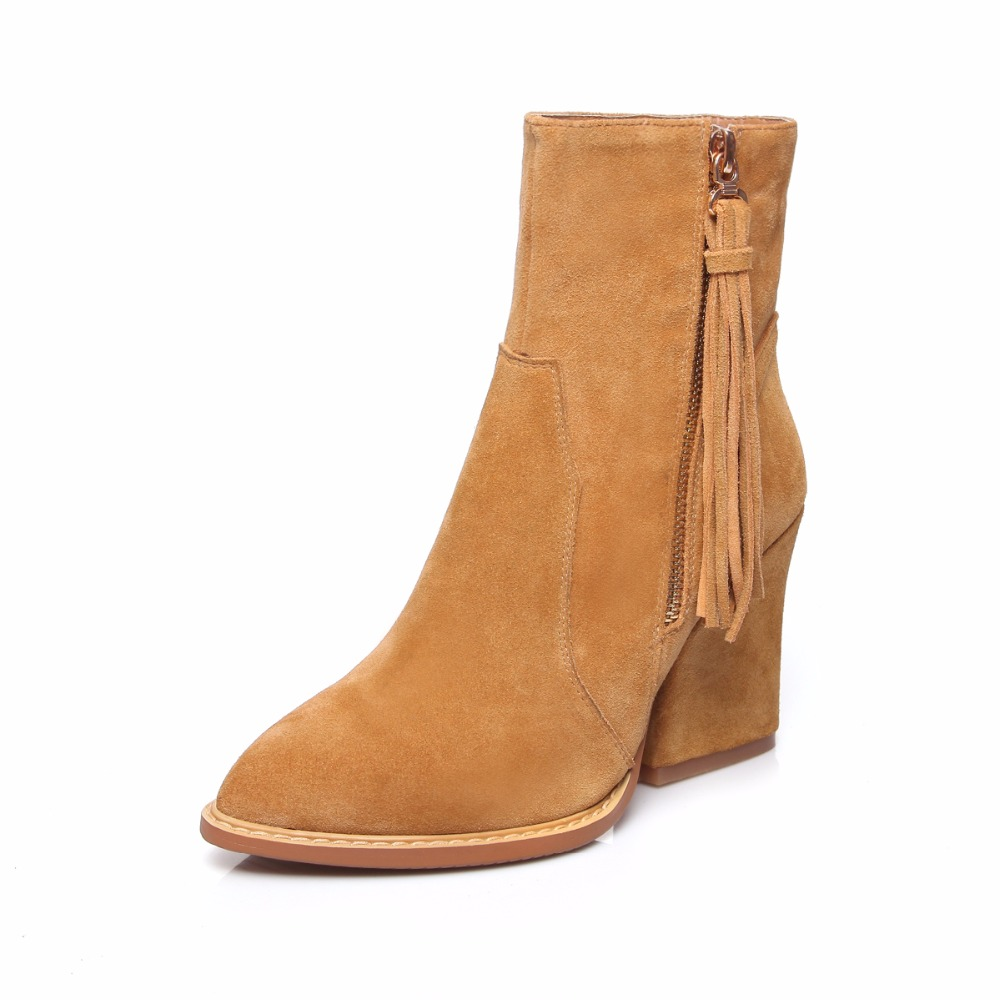 Women Spring Autumn Full Grain Leather High Heels Boots Genuine Fashion Tassels Lady Ankle Boots 161122 drop shipping 2015 fashion arrive sexy full grain leather lady high heels motorcycle boots for women genuine leather ankle boots