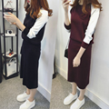 2016 осень корейской элегантный студент вязаный длинное платье костюм из двух частей набор свитер + юбка костюмы с длинным рукавом платья