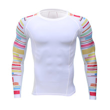 2017 Newest 3D Print Long Sleeve T Shirt Fitness Men Bodybuilding Brand Compression Shirts Clothing