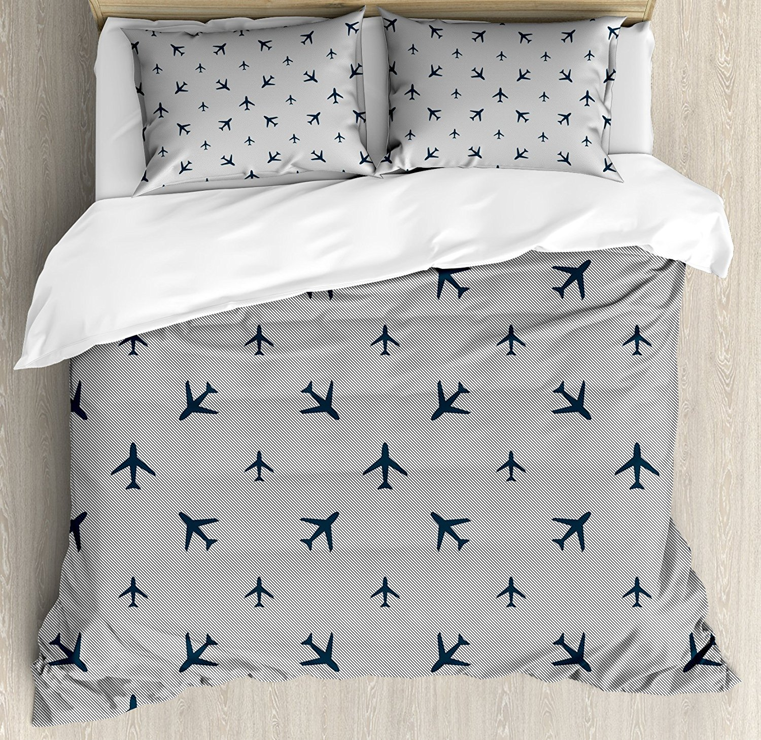 Airplane Duvet Cover Set Diagonal Stripes with Blue Travel Icons Silhouettes Vacation Aviation 4 Piece Bedding Set