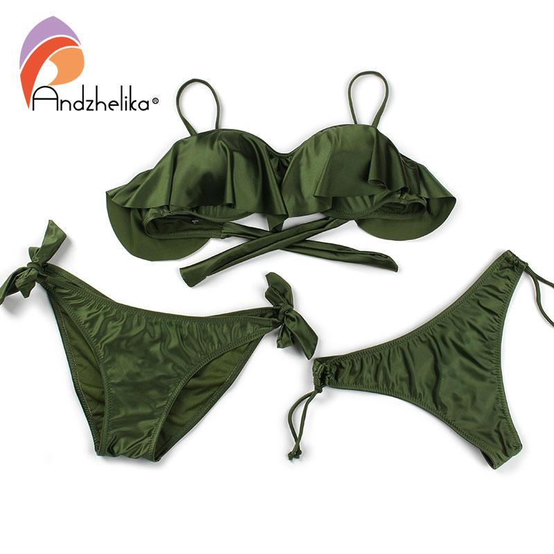 Image 5 - Anadzhelia Bikini Women Push Up Swimsuit Sexy Lotus leaf Brazilian Bikini Set Three Piece Swimwear Beach Bathing Suit BiquiniBikini Set   -