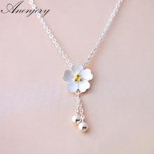 Anenjery простое модное 925 пробы Серебряное Вишневое цветочное ожерелье с кисточкой и бусинами для женщин ожерелье S-N42