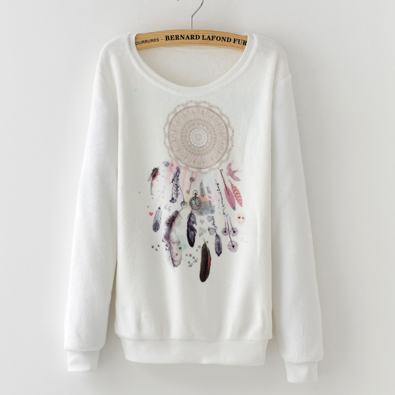 2017 Herbst Winter Hoodies Warme Sweatshirt Frauen Plus Größe Verdicken Einfarbig Penangkap Mimpi Cetak Pullover