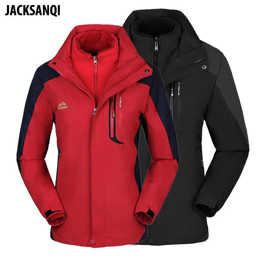 JACKSANQI Men Women 2 In 1 Hiking Jackets Winter Fleece Coats Camping Trekking Sport Men Windbreaker