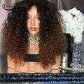 180% pelucas rizadas rizadas ombre pelucas de cabello humano virginal Brasileño peluca llena glueless del pelo pelucas delanteras para negro mujeres