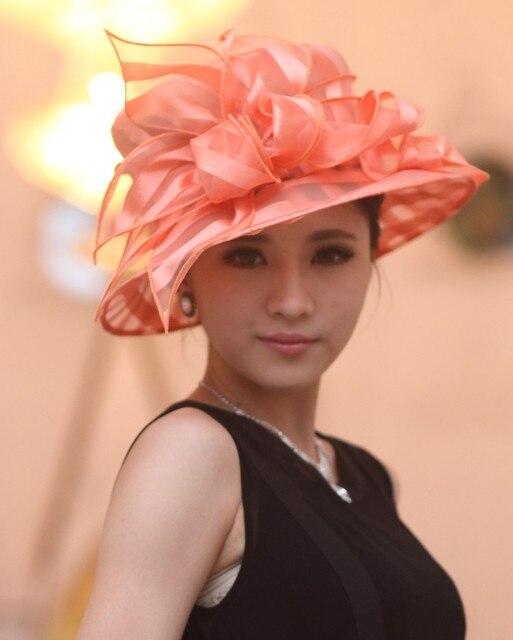 Ladies Women Organza Hat Derby Church Wedding Cocktail Evening Party Beach Dress Cap Sunmer Wide Brim Child Hat Vintage Fedora
