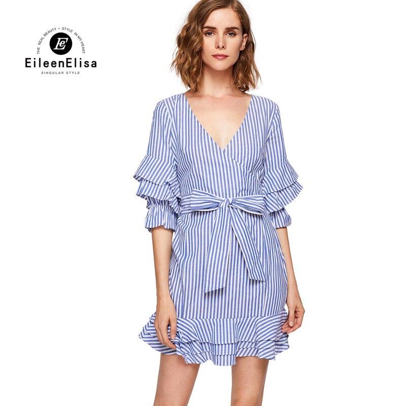 Elisa Papillon D'été Mode Rayé Cou 2017 Manches Avec V Eileen Arc Femmes De Bleu Ceinture Robe f0qxdXw