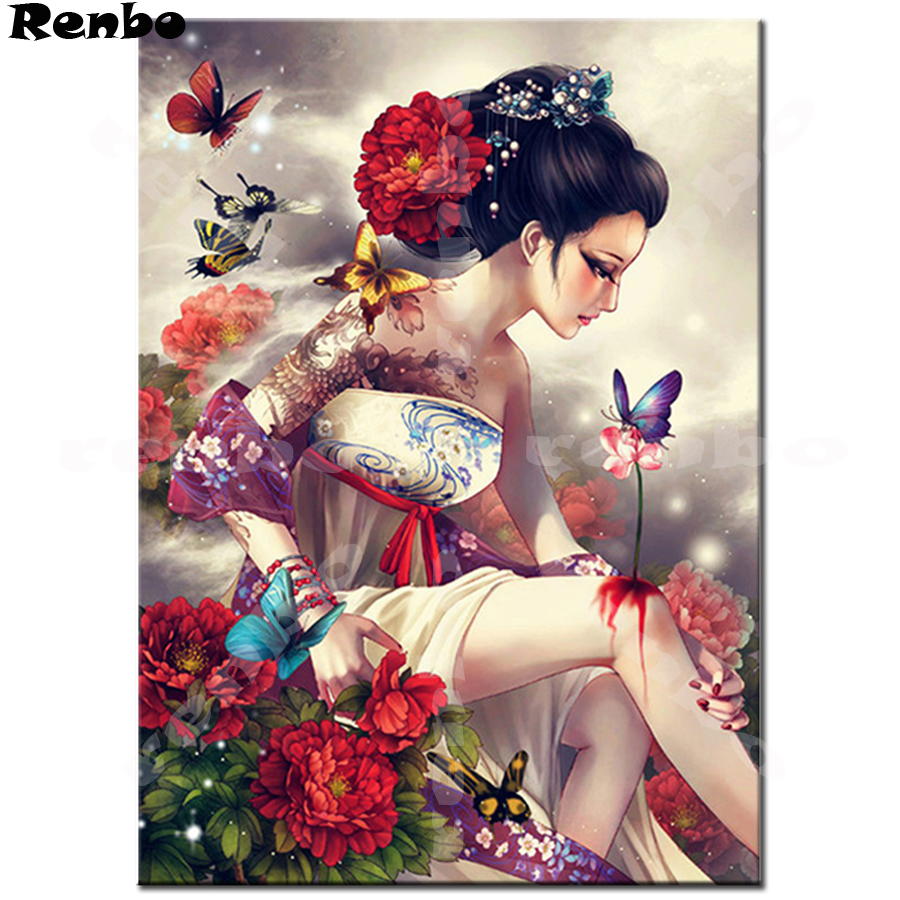 New arrival 5D DIY Diamond Painting full drill square Cross Stitch Japanese woman 3D Embroidery rhinestones wallpaper A166 in Diamond Painting Cross Stitch from Home Garden