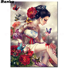 New arrival 5D DIY Diamond Painting full drill square Cross Stitch Japanese woman 3D Embroidery rhinestones wallpaper A166