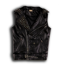 2015 fashion slim rivet trend hip-hop hiphop PU leather vest male