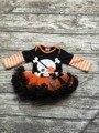 Niñas de Halloween tutu romper infant toddler girls cráneo niñas trajes de fiesta de Halloween mameluco con naranja tutú boutique del bebé conjuntos