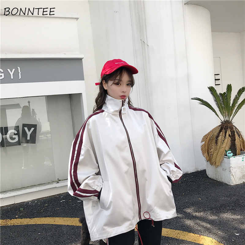 Jackets   Women Loose Leisure Harajuku Korean Style Thin Students Striped Full Length   Basic     Jacket   All-match Ulzzang Womens Daily