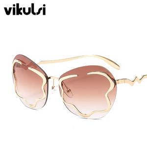 390d88b5d1a vikulsi Women Rimless Cat Eye Sunglasses Shades Girl Female
