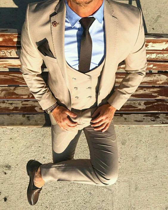 30c031f9b Latest Coat Pant Designs Beige Double Breasted Casual Men Suit Slim ...