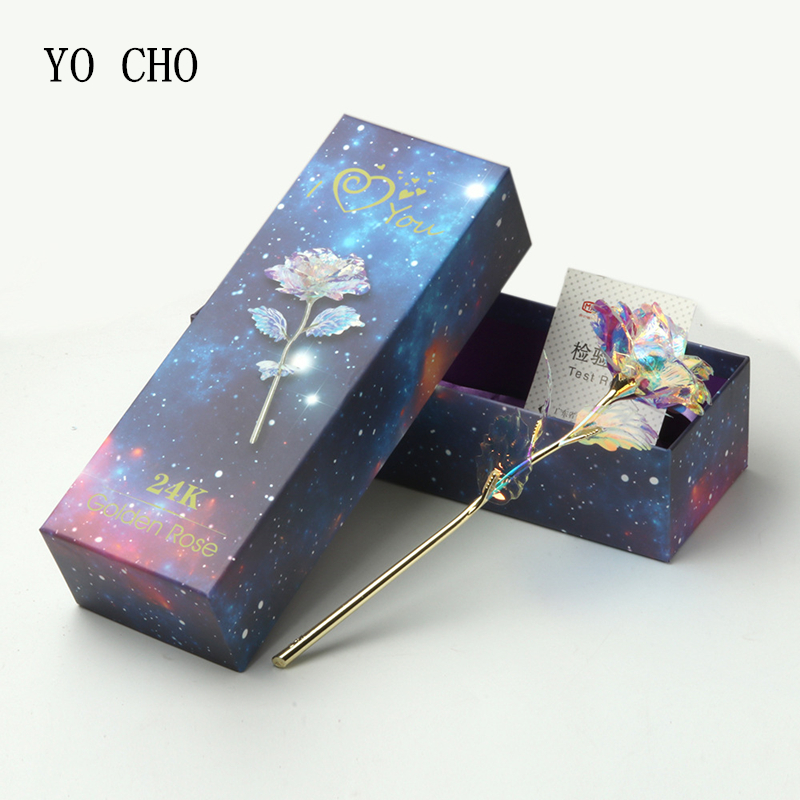 YO CHO Drop Shipping 24K Foil Plated Gold Rose Flowers Glaxy Box Wedding Decor Valentine's Day Creative Gift Golden Rainbow Rose