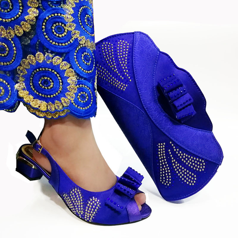 New Violet Color Italian Ladies Wedding Shoes and Bag Set Decorated with Rhinestone African Matching Shoes