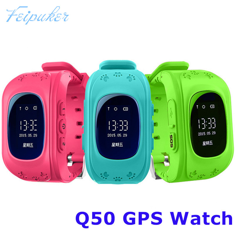 HOT Smart watch Children Kid Wristwatch Q50 GSM GPRS GPS Locator <font><b>Tracker</b></font> Anti-Lost Smartwatch Child Guard for iOS Android