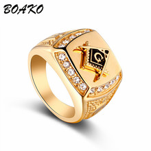 BOAKO Freemason Stainless Steel Rings Male Bling CZ Crystal Ring Punk Masonic Free Mason Symbol G Templar Men Jewelry