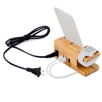 New Version Multi Function Phone Charger Station Wood Bamboo Made 3 USB Port Desktop Charging Dock