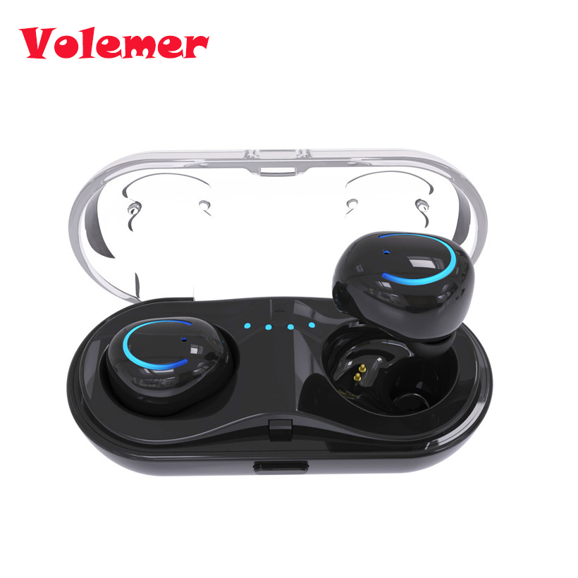 Volemer Mini New TWS Q18 Wireless Waterproof Bluetooth Headset Stereo HiFi Earphone Twins Headphone with charging Station new wireless car charger usb interface bluetooth stereo headset answer call for phone mini adapter bt 4 1 earphone auto charging