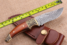 Damascus Steel Small Hunting Knives Copper+Wood Handle Tactical Fixed Knife Collection Knives Outdoor Survival Knife Camp Tools