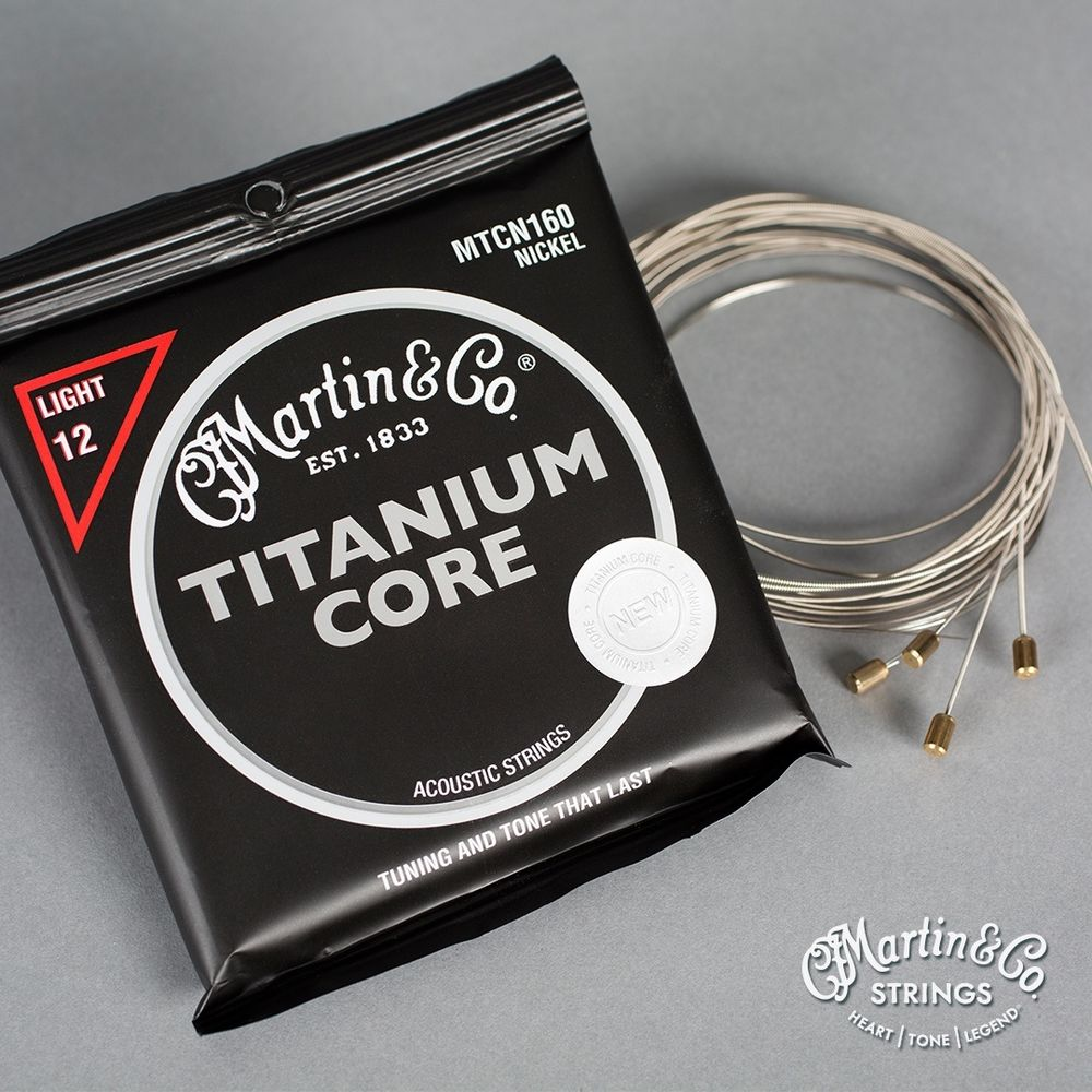 Martin Guitar MTCN160 Titanium Core Acoustic Guitar Strings Nickel Wrap Light Tension d addario pro arte nylon core classical guitar strings set normal hard tension ej43 ej44 ej45 ej46 ej49 ej59