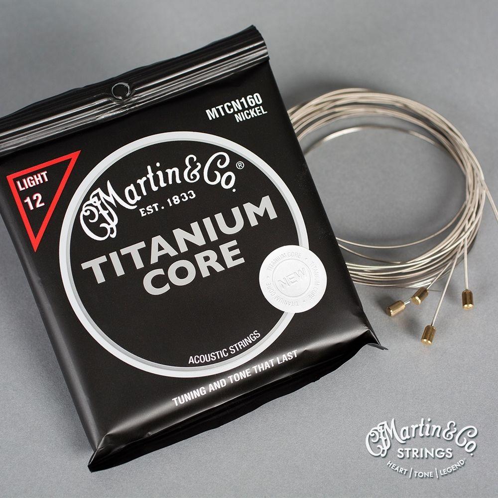 Martin Guitar MTCN160 Titanium Core Acoustic Guitar Strings Nickel Wrap Light Tension