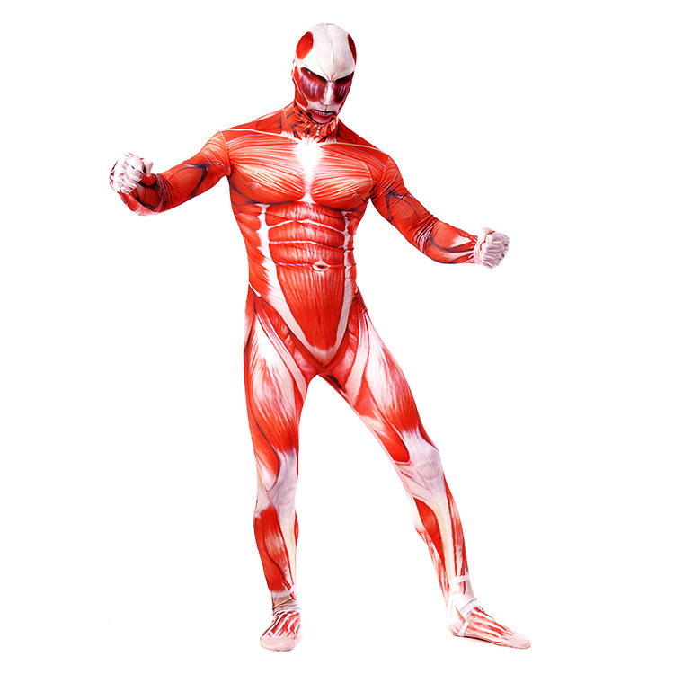 Halloween Costume for Man Cosplay attack on giant zentai tights print full coat one piece Lycra suit