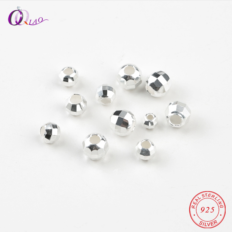 925-Sterling-Silver Beads Loose-Spacer-Beads Jewelry-Making Bracelet Necklace Faceted