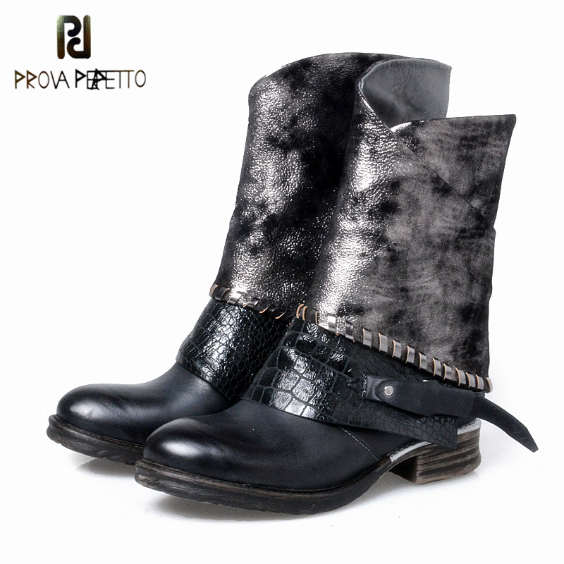 Prova Perfetto Punk Genuine Leather Boots Women Rivets Square Heels Autumn Winter Mid Boots Sexy Shoes