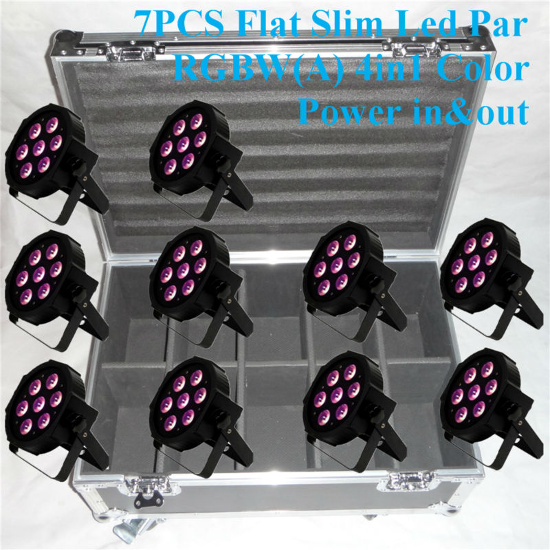 10PCS/LOT with flight case 10W*7Pcs 4in1 Quad LEDs RGBW New adj Mega Quad Par Profile DM ...