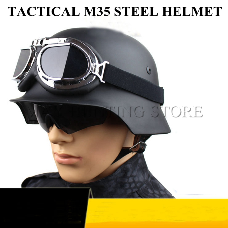 High Quality German M35 Helmet Luftwaffe Steel Helmet Black Tactical Airsoft Helmet Military Special Force Safety