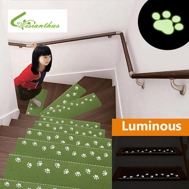 Indoor Luminous Stair Mats Cartoon Self Adhesive Carpet Family Stair Mat  Children Kids Safety Non
