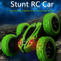 INKPOT Stunt Double side Remote Control Roll Car with Flashing LED Lights Durable Off road 360 Degree Rolling Vehicle Toys D828