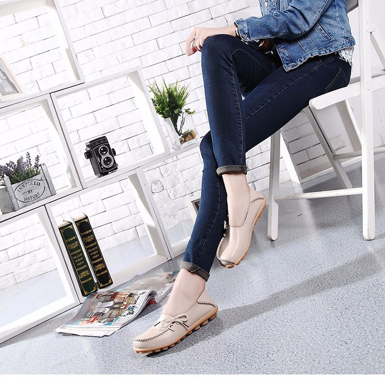 2016 New Real Leather Woman Flats Moccasins Mother Loafers Lacing Female Driving Casual Shoes In 16 Colors Size 34-44 ST179 (32)
