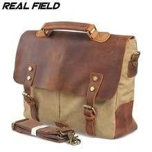 Men Genuine Leather Business Document Shoulder Bag Canvas Briefcase Fashion Vintage Crossbody Bag Casual A4 Files Handbags 92